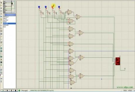 Proteus BCD7421 to 7-Seg-Display
